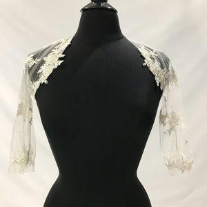 Dresses & Skirts - Soft lace tulle bolero bridal ivory shrug